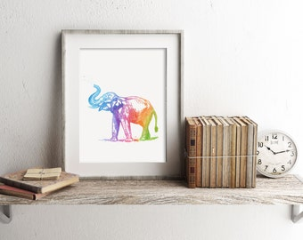 Elephant Print - Watercolor Elephant Print - Elephant Art - Elephant Watercolor Art - Elephant Poster - Watercolor Prints - Nursery Decor
