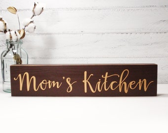 Mom's Kitchen Block Sign- Hand Painted Wooden Block- Country Decor- Wooden Blocks- Vintage Style- Distressed- Home Decor