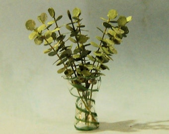 1 inch scale miniature-Eucalyptus Branches in a Vase