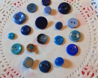 Vintage Blue Button Lot Sewing Buttons Vintage Sewing Notions