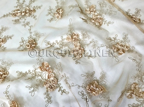 Baby rose embroidery fabric in champagne beautiful lace