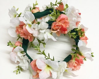 Peach Rose and Hydrangea Infant Flower Crown Halo