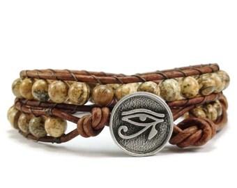 SALE Leather Wrap Bracelet, Beaded Wrap Bracelet, Double Wrap Bracelet, Picture Jasper Gemstones, Boho Leather Wrap