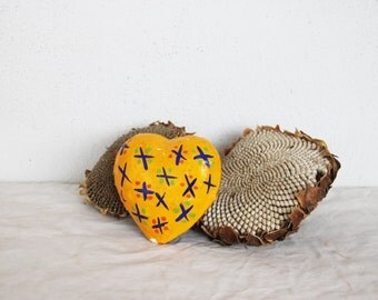 Vintage papier mache heart, yellow and blue paper heart for crafts and art projects, vintage supplies, colourful, two sided heart