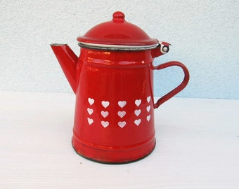 Vintage French Enameled Coffee Pot Kitchen Enamelware Flowers French heart Antique Home Decor, Cottage chic Rustic kitchen 1930