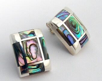SaLe! sALe! Abalone Shell Earrings Sterling Silver