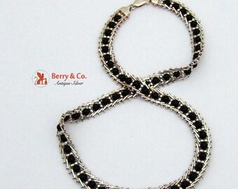 SaLe! sALe! Ornate Sterling Silver Onyx Bead Necklace