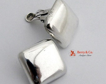 SaLe! sALe! Modern Square Puffy Earrings Sterling Silver Clips