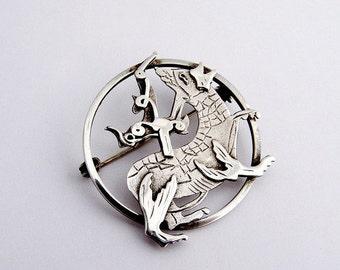 SaLe! sALe! Vintage Brooch Stylized Mythological Creature Sterling Silver