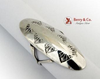 Long Navajo Ring Sterling Silver