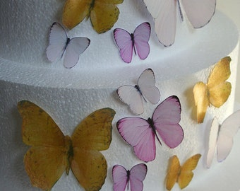 Edible Butterfly Cake Decorations, Pink and Metallic Gold Edible Butterflies Set of 24 DIY Cake Decor Edible Cake Decorations Wedding Cake