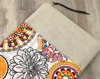 "Tablet bag, mandala, bag, case, sleeve, ebook, e reader sleeve, tablet, 10 ""inch tablet, 8"" inch tablet, linen bag, fabric bag,"