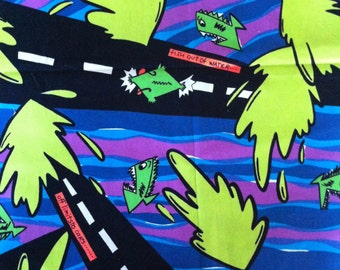 80s vintage SURFER Neon Fish Okanui fabric 1.2m