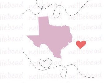 Texas Clipart - SVG Digital Download cut files - Long Distance Relationship Digital Clipart for Cricut Silhouette Studio