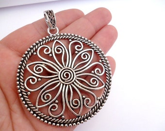Silver Tone Round Filigree Large Charm Pendant_ANT044032581_large Tibetan Charm_Silver_of 60 mm_2/6 in_pack 1 pcs