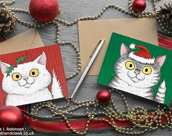 Cat Christmas Cards, Set of 6, Christmas Cats, Cards for Cat lovers, Happy Christmas, White persian, grey tabby, Pack of Christmas Cards