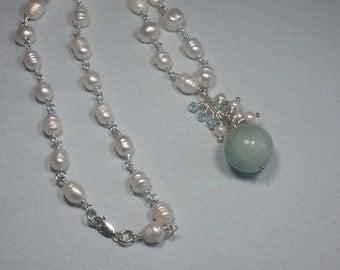 Amazonite Freshwater Pearl Necklace
