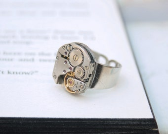 Mens Pinky Ring / Steampunk Ring / Steampunk Signet / Simple Silver Watch Movement Ring / Industrial Jewellery / Mens Jewellery Ring