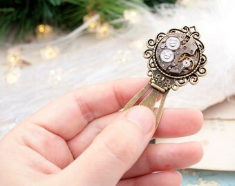 Bookmark/ Christmas Gifts for Reader/ Steampunk Bookmark with Watch Movement/ Stocking Stuffers/ Metal Bookmark/ Book Mark