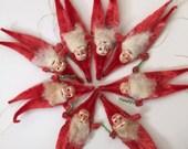 Reserved for Kim, Vintage chenille Santas, vintage Christmas decoration, red pipecleaner Santas, christmas decoratio, 1950s Christmas