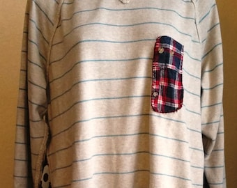 SALE, Reconstructed, Upcycled, Boyfriend Sweater, Sweater, Sweatshirt, Striped, Shirt, Long Sleeved, Knit, Oatmeal, Flannel, Beige, Tunic