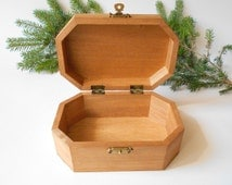 Wooden keepsake box- large six side box- unfinished wooden box with bronze colored hinges- bamboo wood box- wooden supplies- craft box