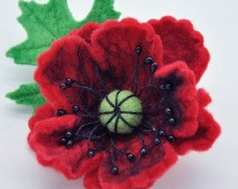 Felted Flower Brooch, Red Poppy