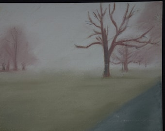 Misty Park, pastel drawing