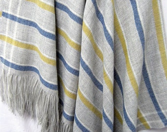 Wool Throw Blanket, Our Striped French Collection is Soft and Luxurious – No Synthetics or Chemical Dyes