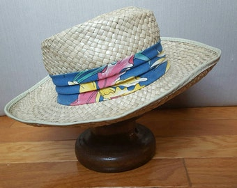 Vintage Panama Straw Hat Long Brim Summer Natural Woven Beach Outdoor Accessory Size Medium 7 Made in the USA Epsteam Tropical Ribbon Men