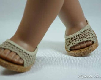 American Girl or18 inch doll SHOES SANDALS beach Flipflops Peeptoe Flats in Beige Tan LACY Look