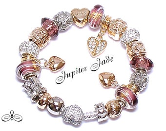 Pandora 925 Silver Charm Bracelet Pave CZ Heart Clasp with European Charms - Gold foil inlaid Puce Murano Glass B213B