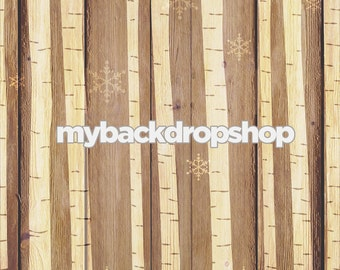2ft x 2ft White Christmas Wood Photography Backdrop - White Birch Trees Drop - Snowflake Christmas Backdrop - Exclusive Design - Item 3022
