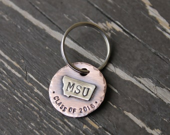 Class of 2017 High School College University Montana State Keychain in Oxidized Copper and Nickel Silver