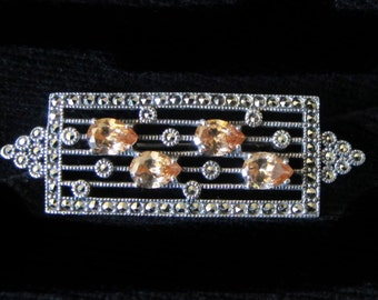 Beautiful Art Deco marcasite and sterling silver brooch