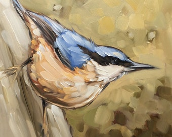 "Nuthatch bird painting, Original oil painting of a Nuthatch bird by Andrea Lavery, 6x6"" on panel, bird art, birds"