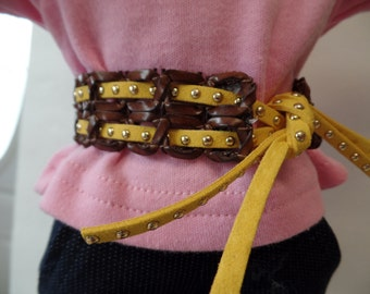 """Brown/yellow Studded- leather Belt for 18"""" Dolls--Shown on my american girl doll"""