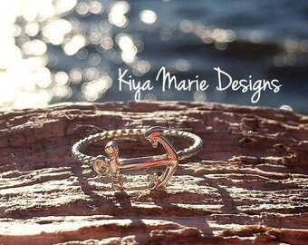 Anchor Ring, skinny band stack ring, Sterling Silver Argentium Silver Stack Rings, Sea life nautical rings, beach ocean jewelry