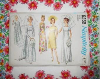 Simplicity Sewing Pattern #6352- Size 9 Jr. Wedding Bridal Dress