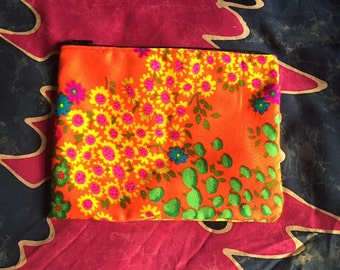 Vintage Floral Zipper Pouch, Makeup Bag