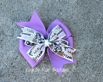 Purple 4 Wheeler Hair Bow - 4 Wheeler Hair Bow - 4 Inch Hair Bow - Girls Hair Bow - Toddler Hair Bow - Purple 4 Wheeler - Outdoor Theme Bow