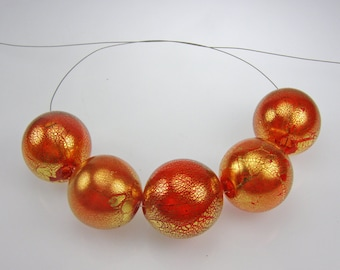 Hollow beads-Lampworl beads-Blown glass hollow transparent red beads with 24kt gold leaf