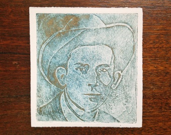hank williams print - black and gold on white - collagraph print
