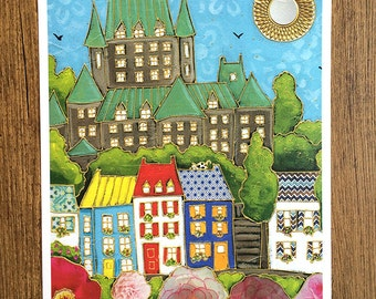 Poster - illustration - art - print - castle - quebec