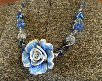 Rose focal Blue &  White Wire Wrapped Glass Bead Necklace