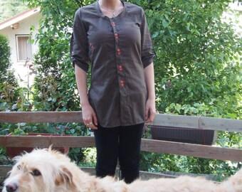 Brown Linen Shirt / Extravagant Shirt / Tunic Top & Nara RIZ002