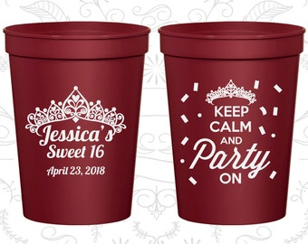 16th Party Favor Cups, Sweet 16 Party, Keep Calm and Party on, Party Favor Cups, Fun Birthday Cups (20140)