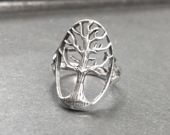 925 Solid Sterling ITREE OF LIFE Ring-Oval Tree of Lifel Ring-Oxidized