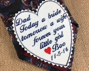 Personalized WEDDING TIE PATCH - Father of the Bride - Today a Bride, Iron On Tie Patch, Sew On Tie Patch, Wedding Accessories