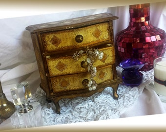 Italian Florentine Jewelry Chest/Box for Hankies,Jewelry,Trinkets Boudoir Keepsake Three Drawer Box 7.5 x 6 x 3